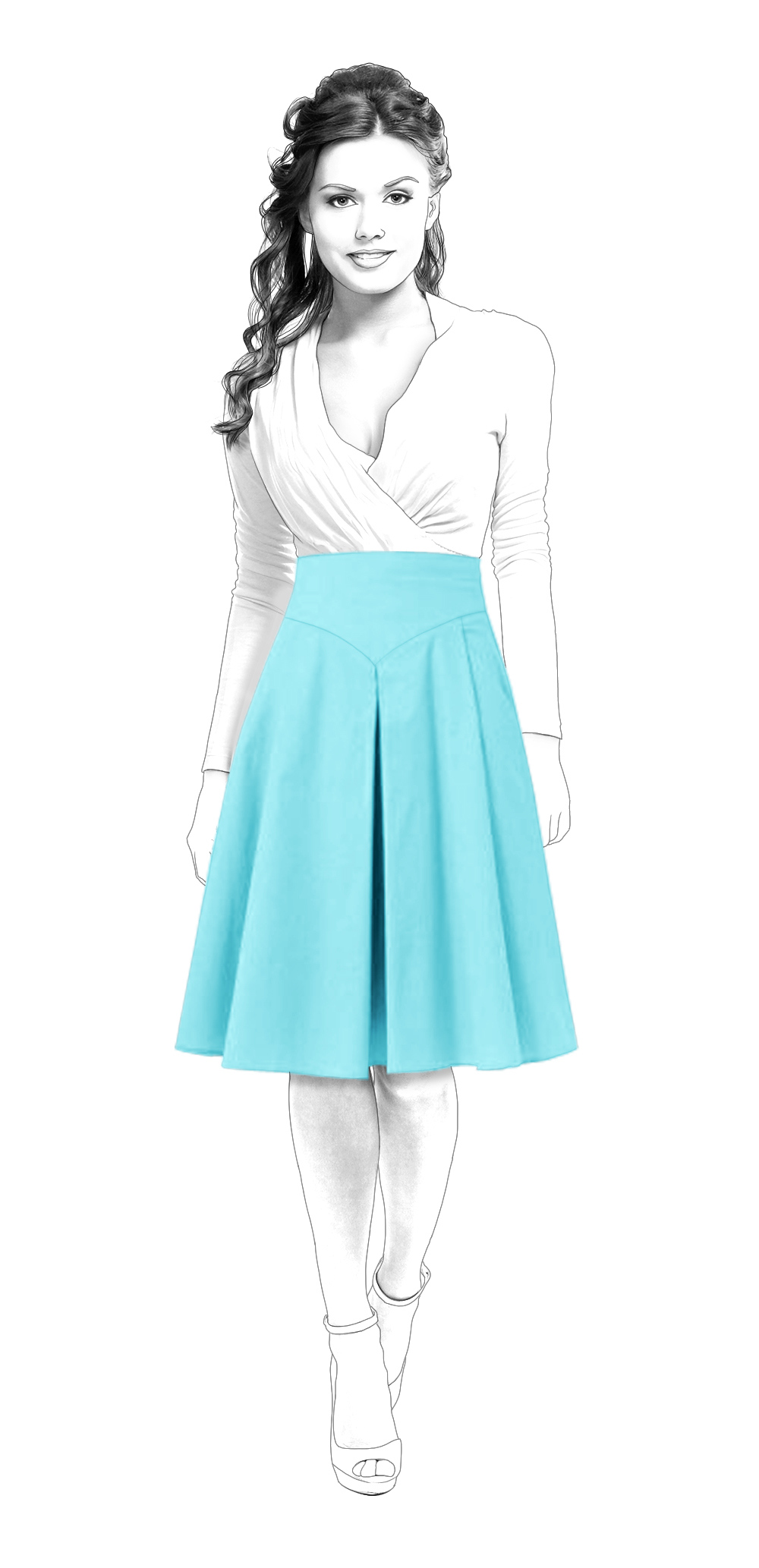 Flared Skirt With Yoke And Pleat In The Front - Sewing Pattern ...