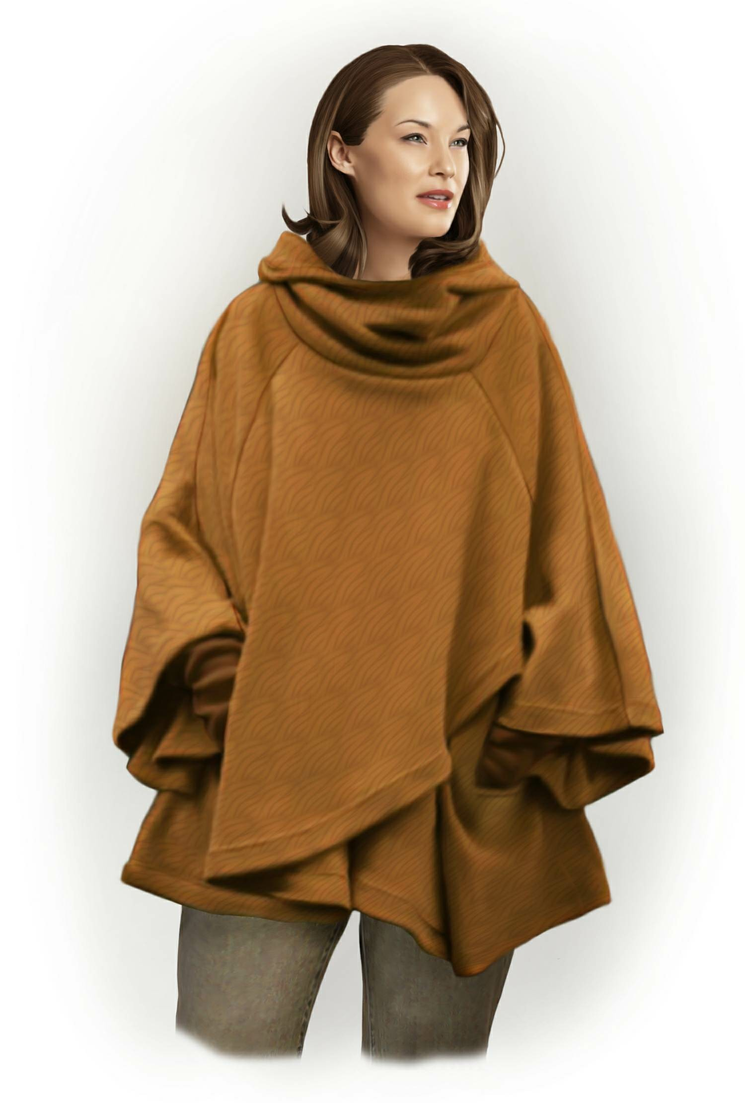 Poncho With Hood - Sewing Pattern #5798  Made-to-measure