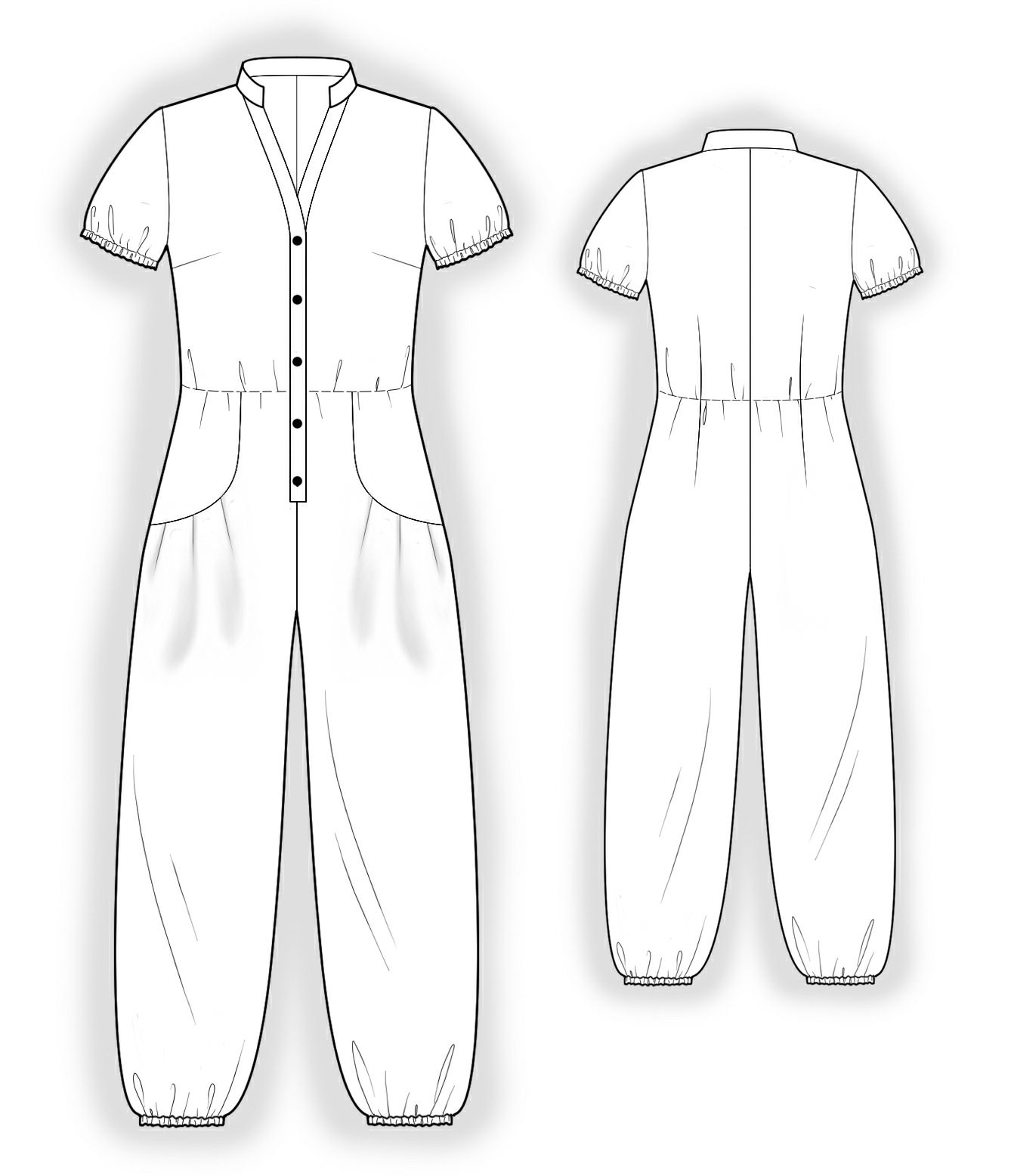 Jumpsuit With Decorative Pockets - Sewing Pattern #4044. Made-to ...